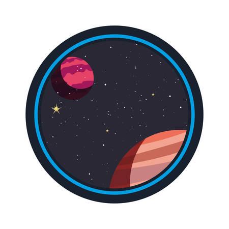 system solar planets galaxy icon vector illustration