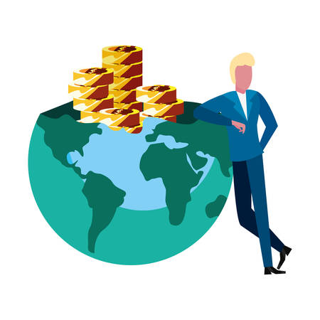 businessman money world coins stack vector illustration