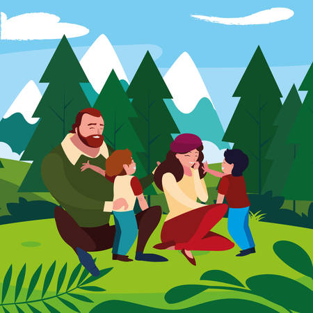 parents couple with sons in the field vector illustration design