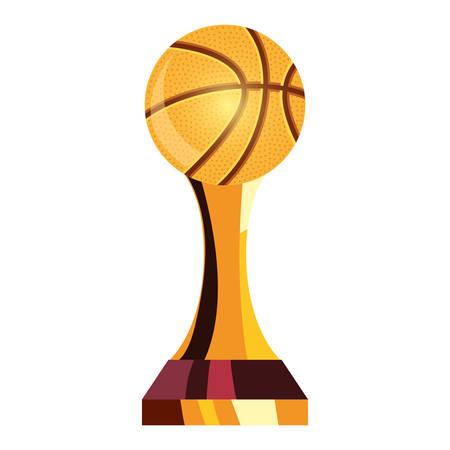 trophy ball basketball sport award vector illustration