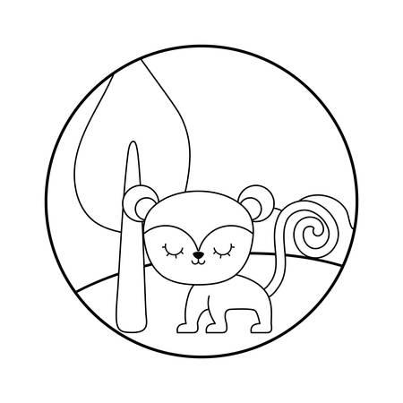 cute monkey in landscape scene vector illustration design