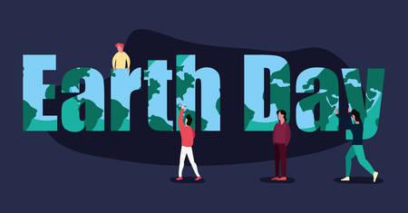 people earth day inscription vector illustration design Ilustrace