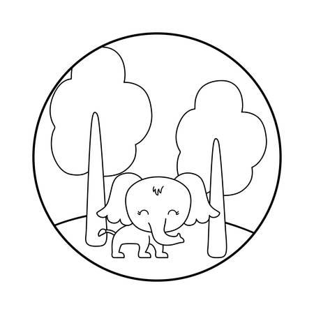 cute elephant animal in landscape vector illustration design