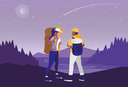 young couple in forest landscape scene vector illustration design