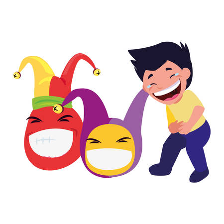 boy and emoji april fools day vector illustration