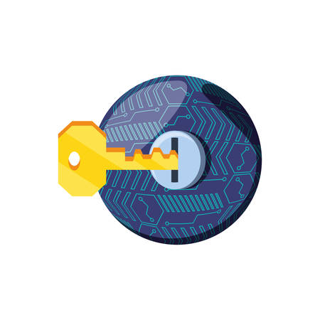key with hole security isolated icon vector illustration design 向量圖像