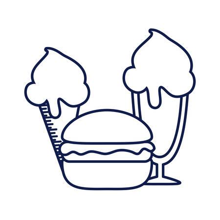hamburger with ice creams isolated icon vector illustration design
