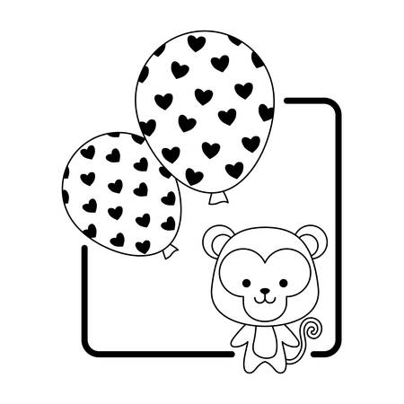 cute monkey with balloons helium vector illustration design
