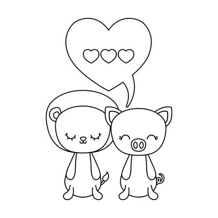 cute lion with piggy animals and speech bubble vector illustration design