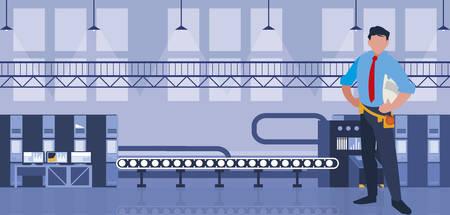 elegant engineer in factory workplace vector illustration design