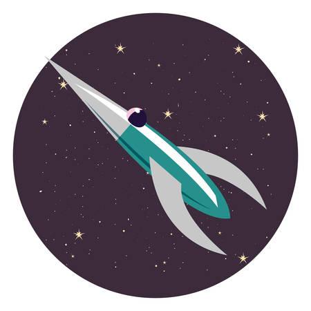 rocket spaceship travel explorer space vector illustration 向量圖像