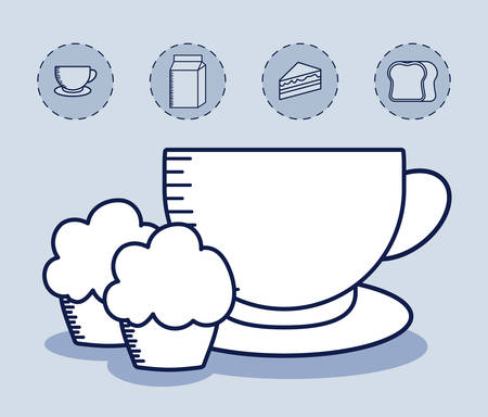 cup coffee with cupcake and set icons vector illustration design