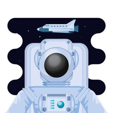 space astronaut with spaceship scene vector illustration design