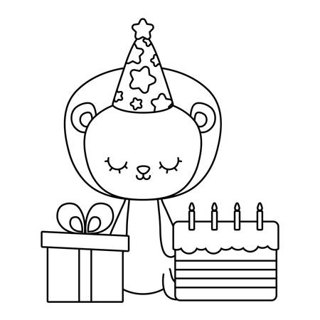 cute lion with cake of birthday and gift box vector illustration design