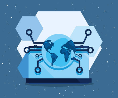 world connection data cyber security vector illustration