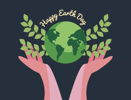 hands holding world with leaves happy earth day vector illustration vector illustration Stock Illustratie