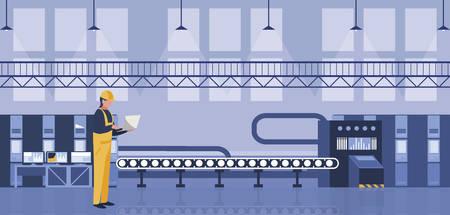 Travailleur en usine conception d'illustration vectorielle en milieu de travail Vecteurs