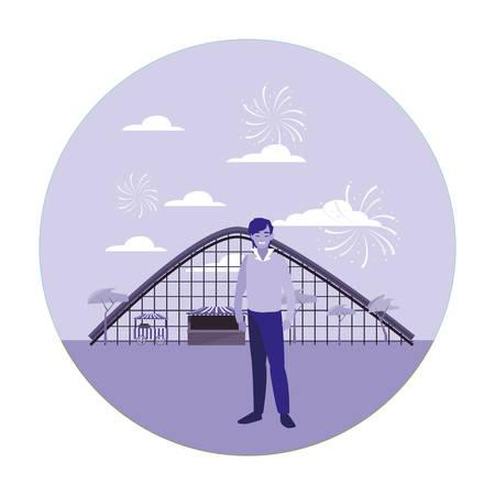 Mann in der Vergnügungspark-Vektorillustration