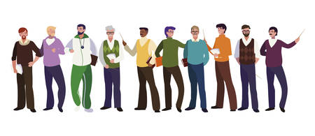 teachers classics and sports avatars characters vector illustration design Vettoriali