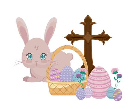 cute rabbit with catholic cross and eggs of easter in basket wicker vector illustration design