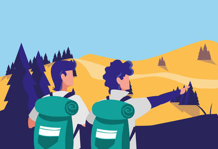 young group of men in desert landscape dry scene vector illustration design
