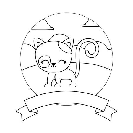 cute cat in landscape with frame and ribbon vector illustration design