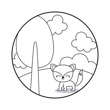 cute fox animal in landscape scene vector illustration design