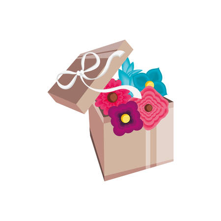 beautiful flowers in gift box present vector illustration design