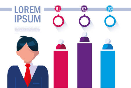 businessman with infographic and numbers vector illustration design