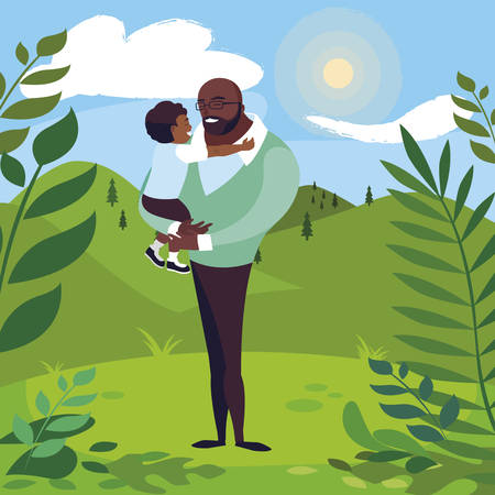 afro father with son in the field vector illustration design