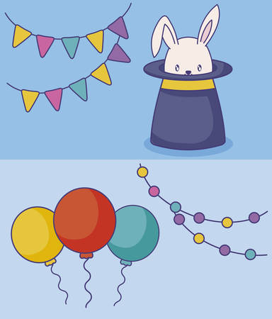wizard top hat with balloons helium vector illustration design Zdjęcie Seryjne - 122816576
