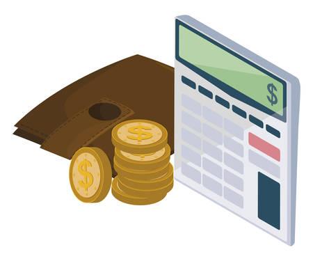 calculator math with wallet coins vector illustration design 向量圖像