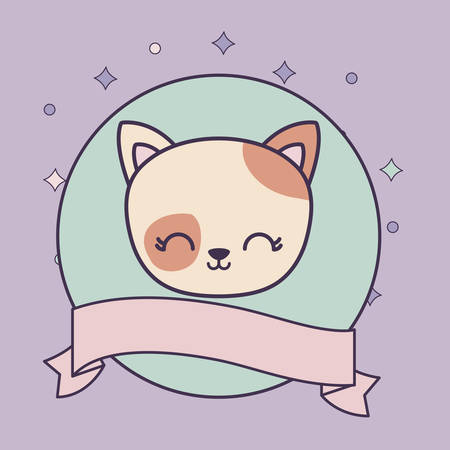 head of cute cat in frame circular with ribbon vector illustration design