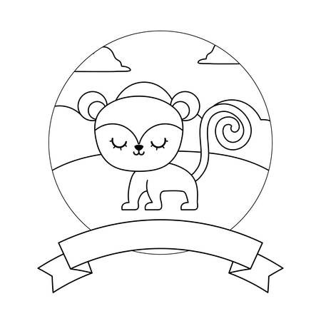 cute monkey in landscape with frame and ribbon vector illustration design Vectores