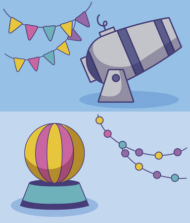 circus cannon with ball and garlands hanging vector illustration design
