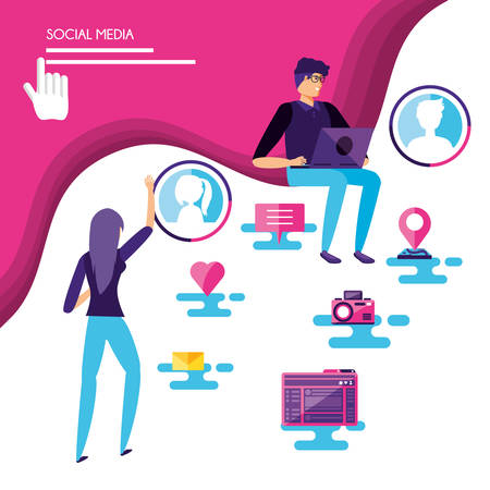 couple with social media icons vector illustration design
