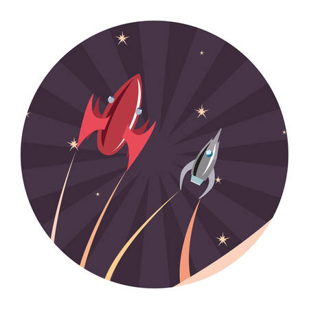 launching rockets spaceships mission vector illustration design