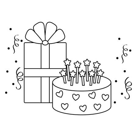 sweet cake of birthday with gift box present vector illustration design