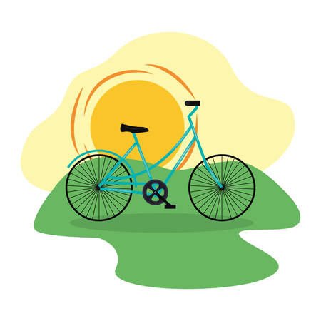 bicycle transport in the outdoors vector illustration