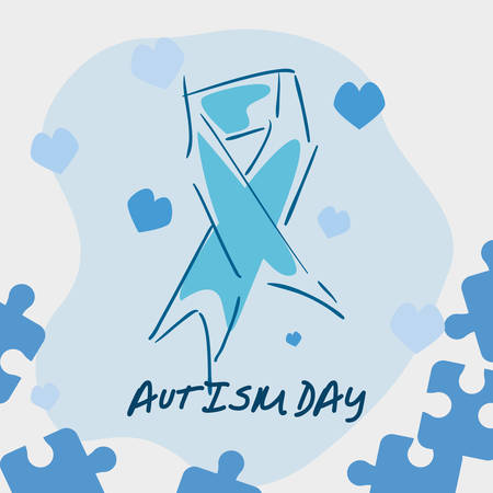 autism awareness day campaign blue ribbon vector illustration