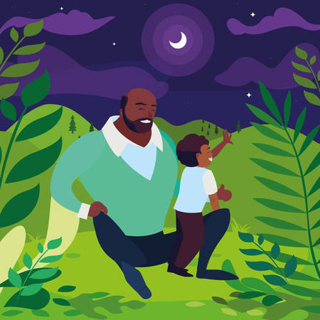 black father with son in the field vector illustration design