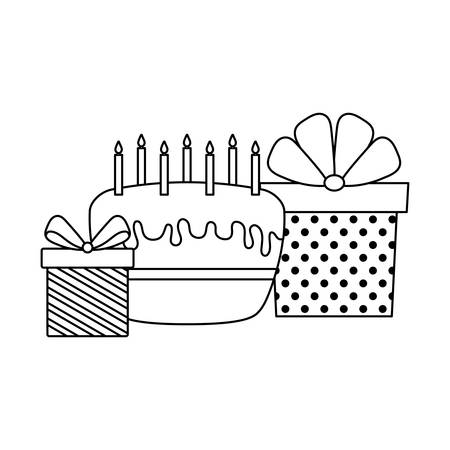 sweet cake of birthday with gift boxes present vector illustration design