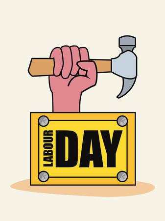 hand hammer construction board tool vector illustration design 向量圖像