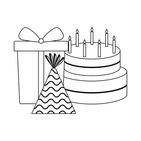 sweet cake with gift box and hat party vector illustration design 向量圖像