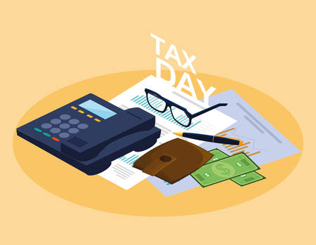 tax day with phone and set icons vector illustration design