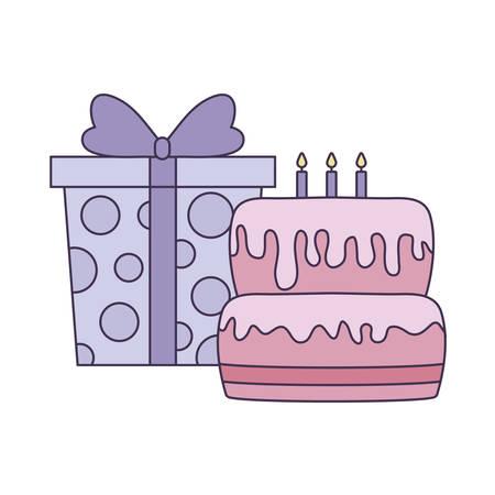 sweet cake of birthday with gift box vector illustration design 向量圖像