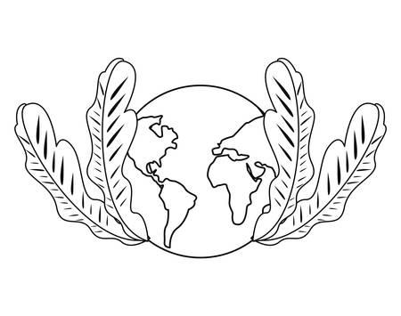 world planet leaves on white background vector illustration 向量圖像