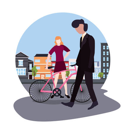 man walk and woman with bike city activities vector illustration Illusztráció