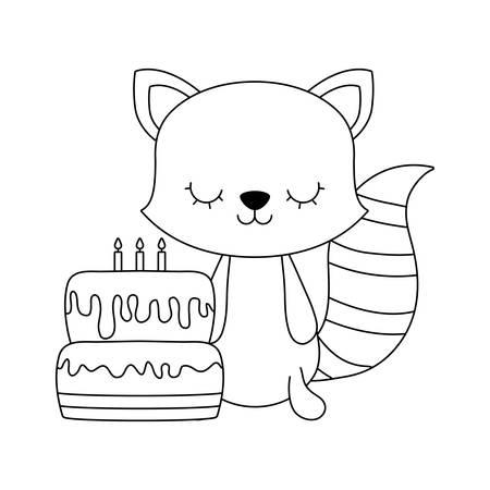 cute cat with cake of birthday vector illustration design Ilustracja