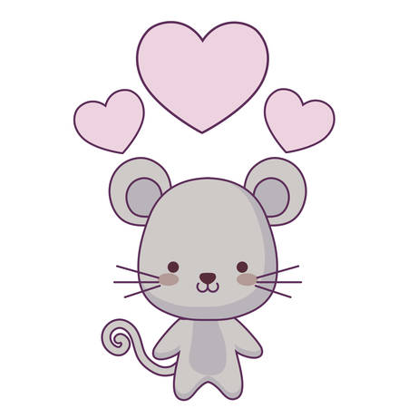 cute mouse animal with hearts love vector illustration design  イラスト・ベクター素材